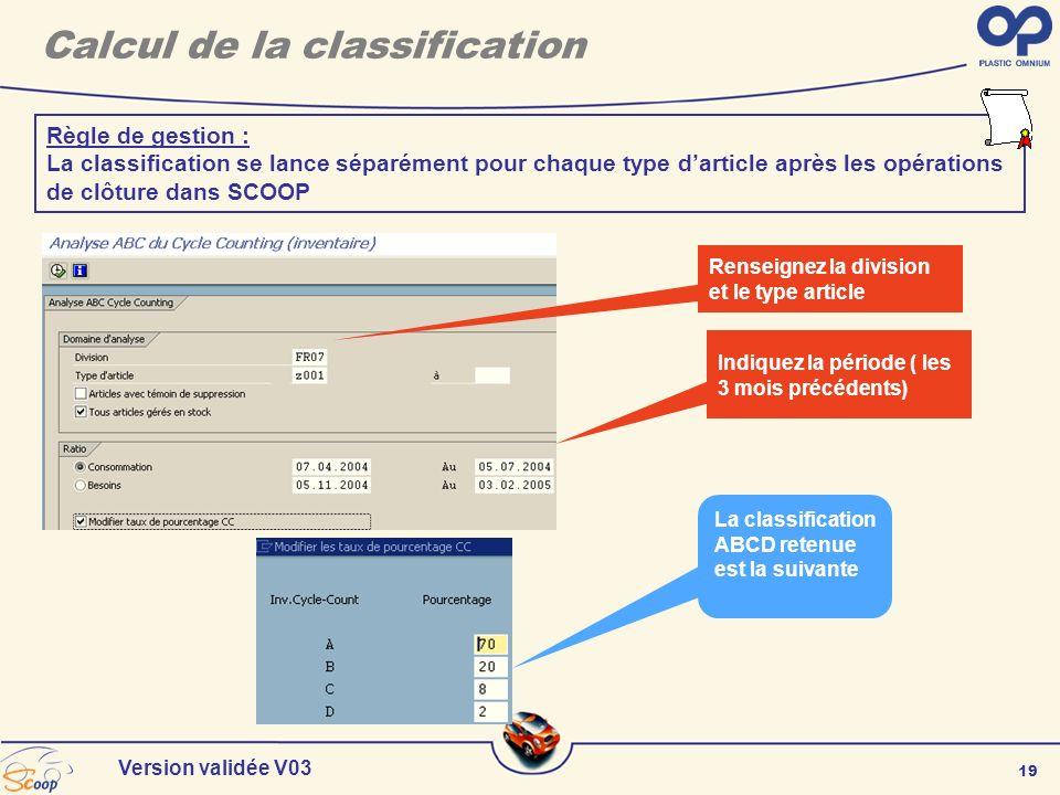 19 Version validée V03 Calcul de la classification Renseignez la division et le type article Indiquez la période ( les 3 mois précédents) Règle de ges