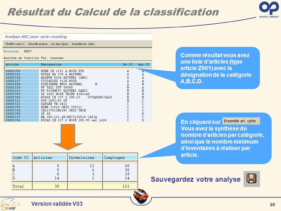 20 Version validée V03 Résultat du Calcul de la classification Sauvegardez votre analyse Comme résultat vous avez une liste darticles (type article Z0