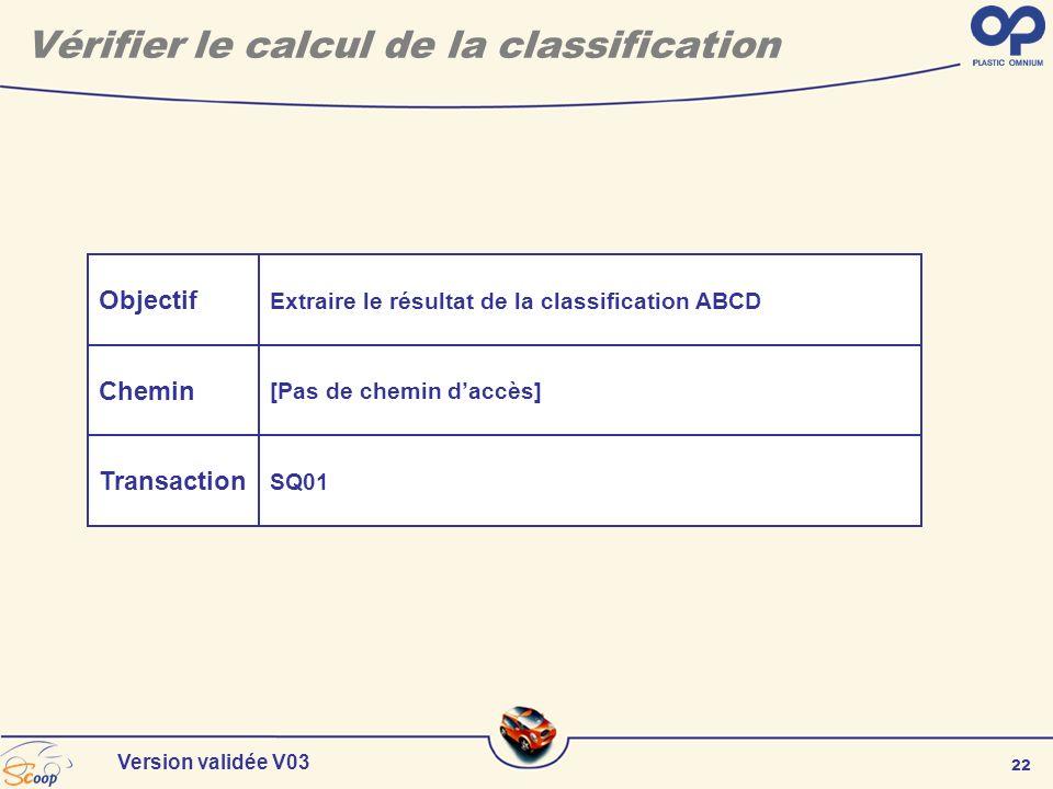 22 Version validée V03 Objectif Chemin Transaction Extraire le résultat de la classification ABCD [Pas de chemin daccès] SQ01 Vérifier le calcul de la