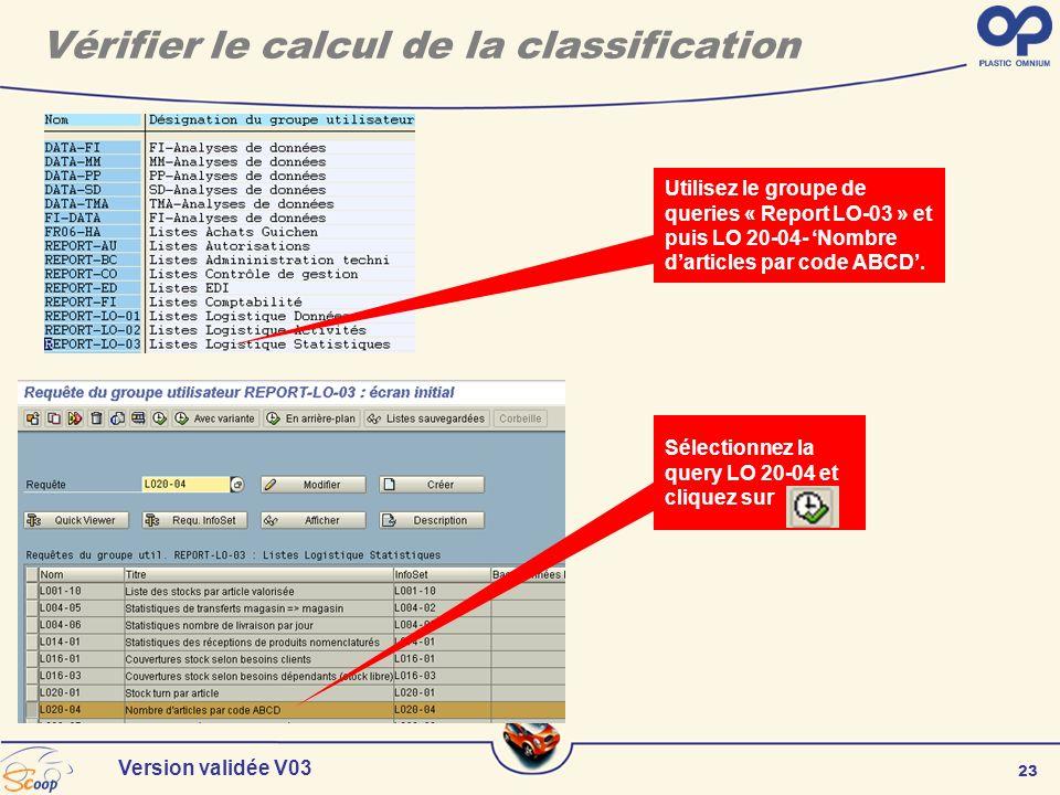 23 Version validée V03 Sélectionnez la query LO 20-04 et cliquez sur Utilisez le groupe de queries « Report LO-03 » et puis LO 20-04- Nombre darticles