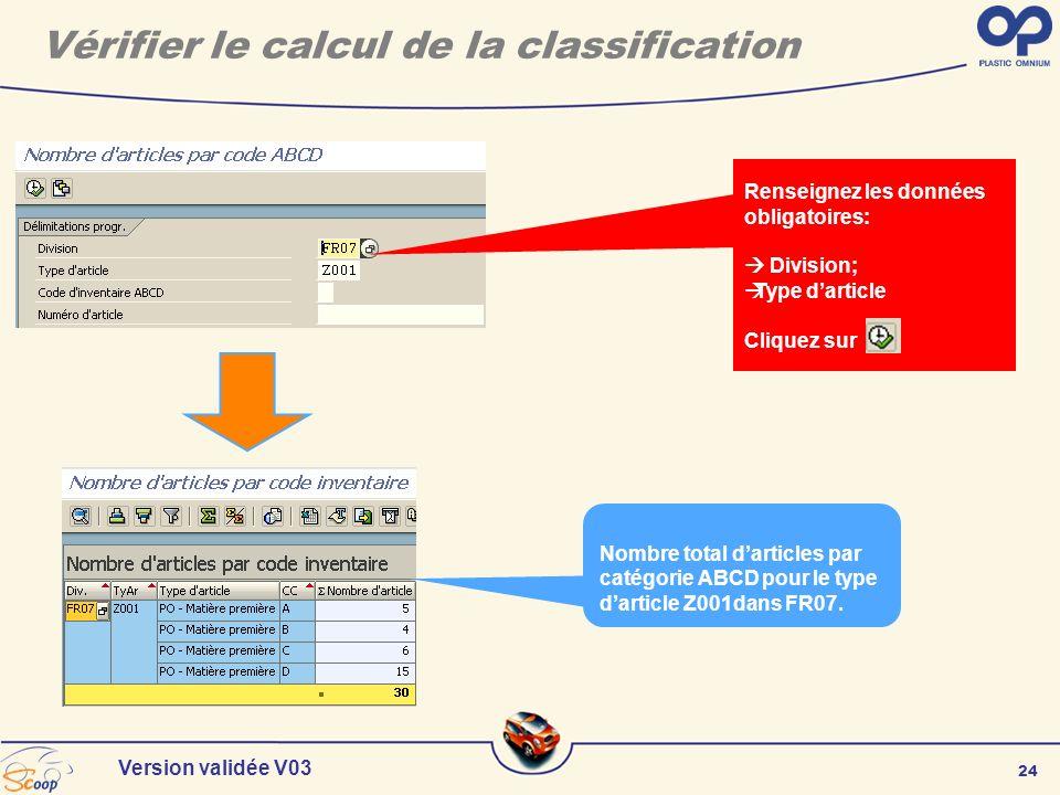 24 Version validée V03 Renseignez les données obligatoires: Division; Type darticle Cliquez sur Nombre total darticles par catégorie ABCD pour le type