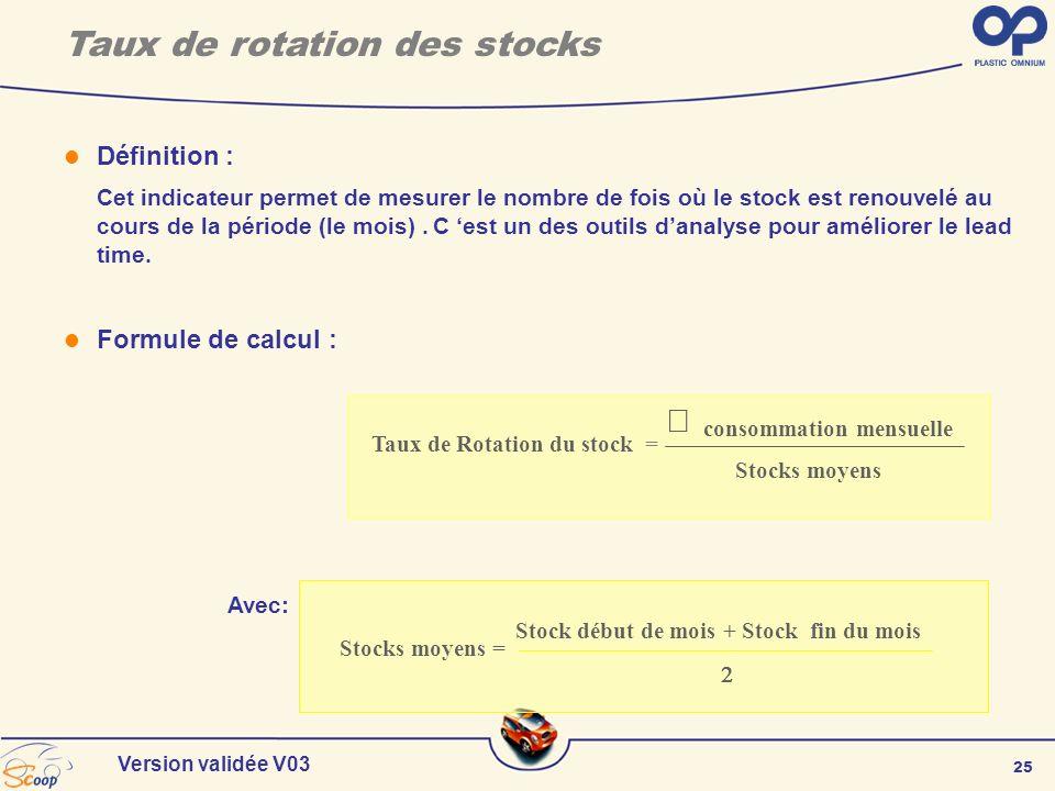 25 Version validée V03 Taux de rotation des stocks Définition : Cet indicateur permet de mesurer le nombre de fois où le stock est renouvelé au cours