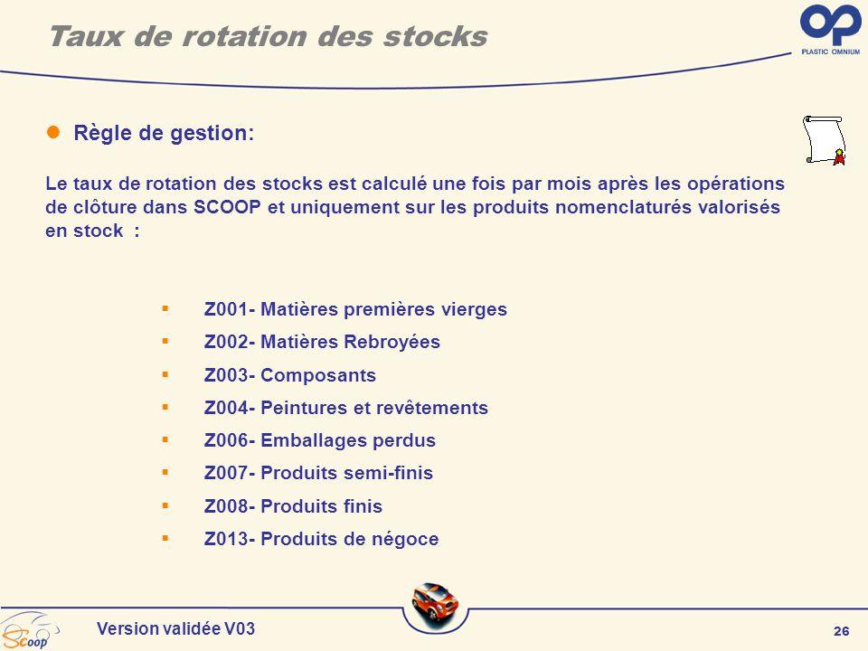 26 Version validée V03 Taux de rotation des stocks Z001- Matières premières vierges Z002- Matières Rebroyées Z003- Composants Z004- Peintures et revêt