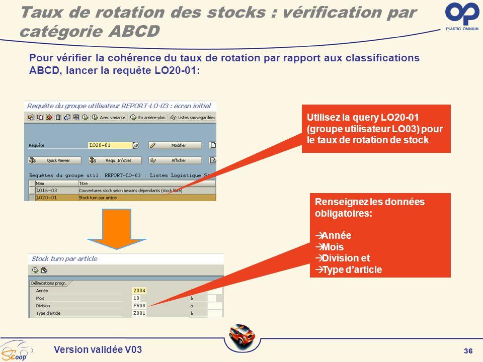 36 Version validée V03 Pour vérifier la cohérence du taux de rotation par rapport aux classifications ABCD, lancer la requête LO20-01: Renseignez les