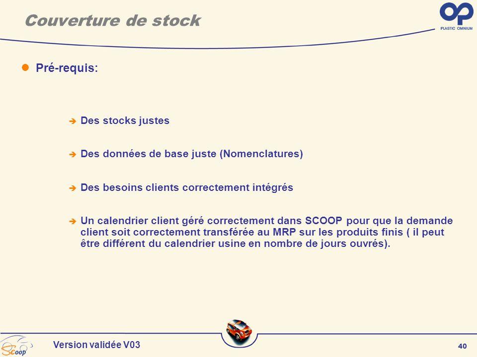 40 Version validée V03 Couverture de stock Pré-requis: Des stocks justes Des données de base juste (Nomenclatures) Des besoins clients correctement in