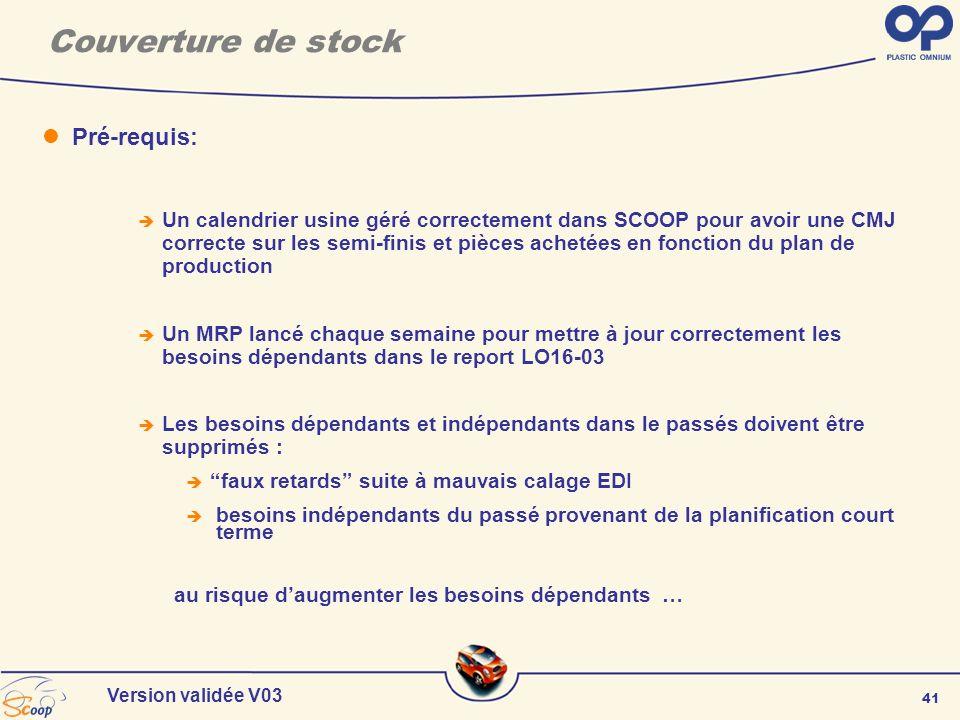41 Version validée V03 Couverture de stock Pré-requis: Un calendrier usine géré correctement dans SCOOP pour avoir une CMJ correcte sur les semi-finis