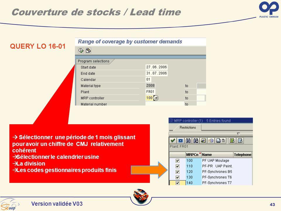43 Version validée V03 QUERY LO 16-01 Couverture de stocks / Lead time Sélectionner une période de 1 mois glissant pour avoir un chiffre de CMJ relati