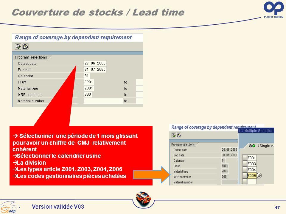 47 Version validée V03 Sélectionner une période de 1 mois glissant pour avoir un chiffre de CMJ relativement cohérent Sélectionner le calendrier usine