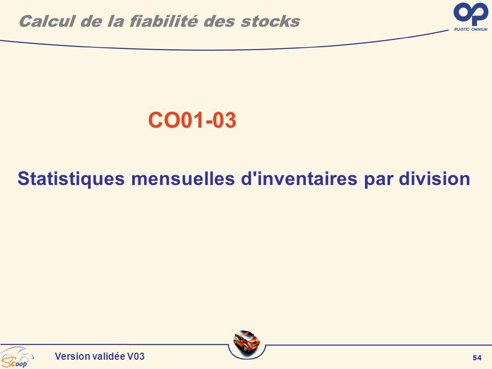 54 Version validée V03 Calcul de la fiabilité des stocks CO01-03 Statistiques mensuelles d'inventaires par division