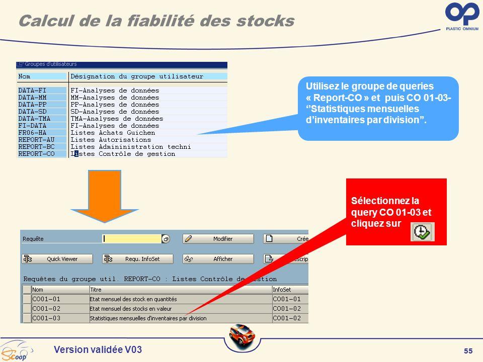 55 Version validée V03 Sélectionnez la query CO 01-03 et cliquez sur Utilisez le groupe de queries « Report-CO » et puis CO 01-03- Statistiques mensue