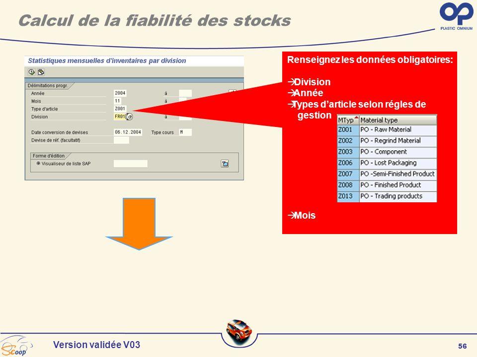 56 Version validée V03 Renseignez les données obligatoires: Division Année Types darticle selon régles de gestion Mois Calcul de la fiabilité des stoc