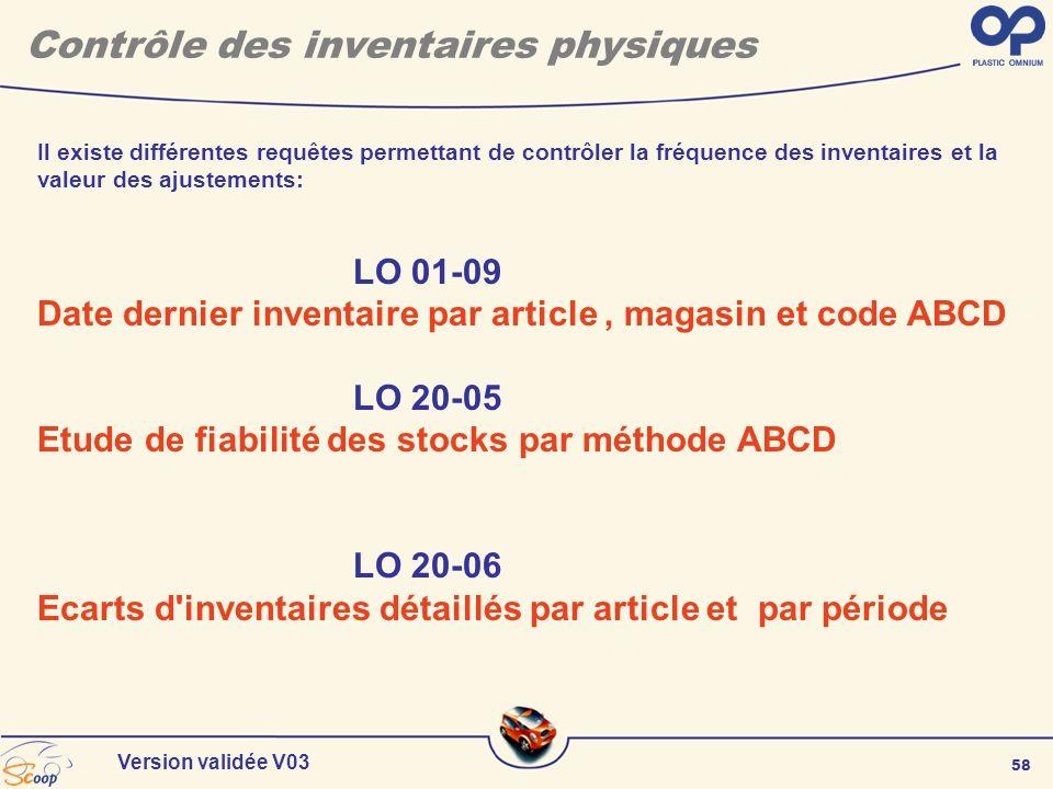 58 Version validée V03 Il existe différentes requêtes permettant de contrôler la fréquence des inventaires et la valeur des ajustements: LO 01-09 Date
