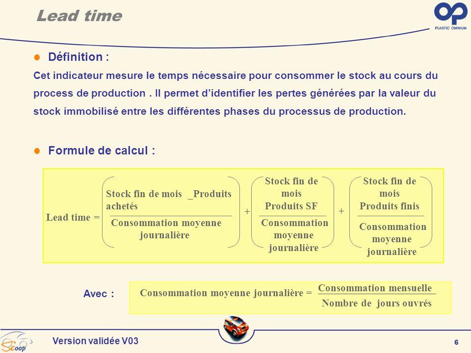 7 Version validée V03 Lead time Z001- Matières premières vierges Z003- Composants Z004- Peintures et revêtements Z006- Emballages perdus Z007- Produits semi-finis Z008- Produits finis Z013- Produits de négoce Règles de gestion : Le temps de défilement est calculé une fois par mois après les opérations de clôture dans SCOOP et uniquement pour les produits nomenclaturés valorisés :