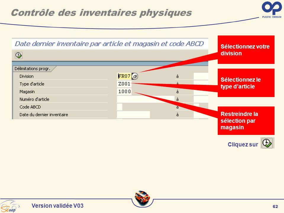 62 Version validée V03 Cliquez sur Sélectionnez votre division Sélectionnez le type darticle Contrôle des inventaires physiques Restreindre la sélecti