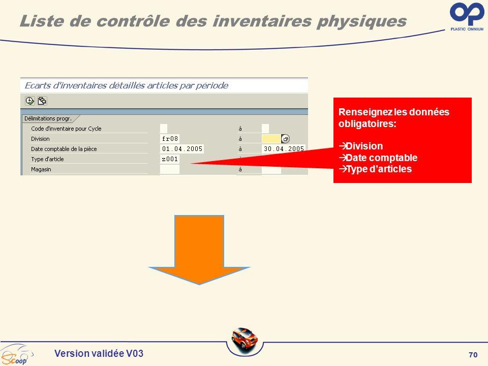 70 Version validée V03 Liste de contrôle des inventaires physiques Renseignez les données obligatoires: Division Date comptable Type darticles
