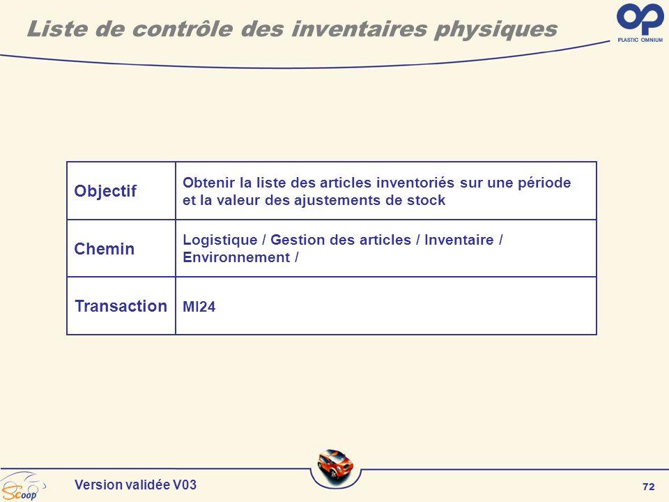 72 Version validée V03 Liste de contrôle des inventaires physiques Objectif Chemin Transaction Obtenir la liste des articles inventoriés sur une pério