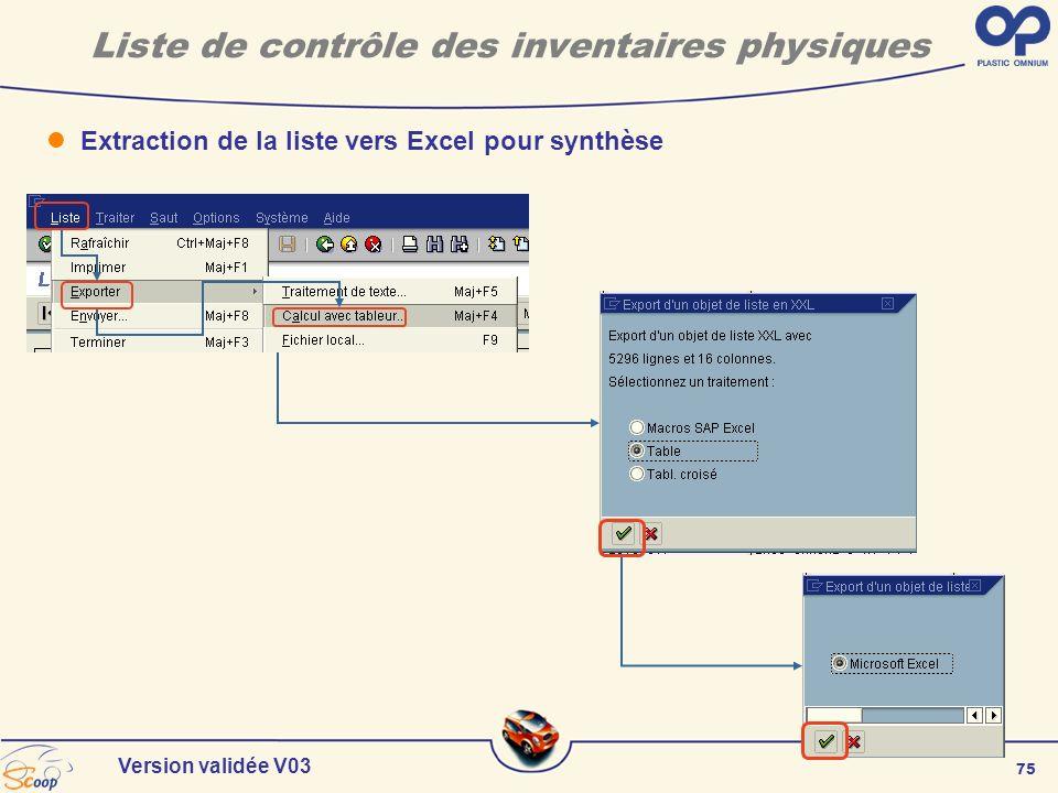 75 Version validée V03 Liste de contrôle des inventaires physiques Extraction de la liste vers Excel pour synthèse