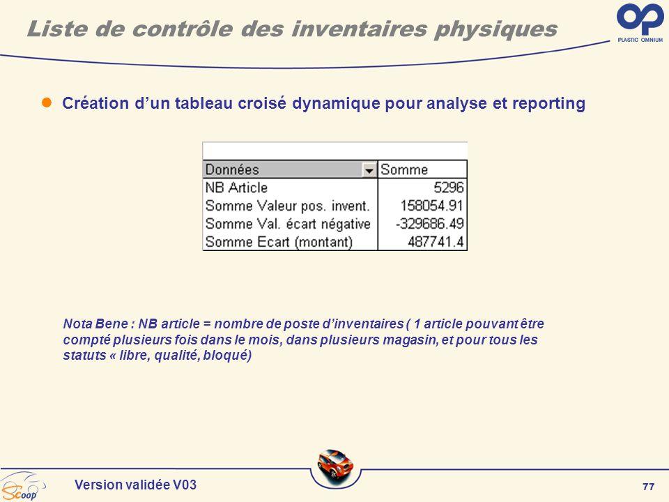 77 Version validée V03 Création dun tableau croisé dynamique pour analyse et reporting Liste de contrôle des inventaires physiques Nota Bene : NB arti