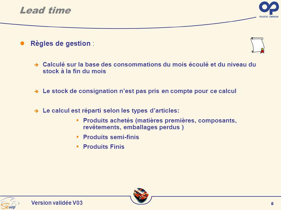 8 Version validée V03 Règles de gestion : Calculé sur la base des consommations du mois écoulé et du niveau du stock à la fin du mois Le stock de cons
