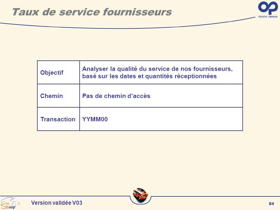 84 Version validée V03 Taux de service fournisseurs Objectif Chemin Transaction Analyser la qualité du service de nos fournisseurs, basé sur les dates