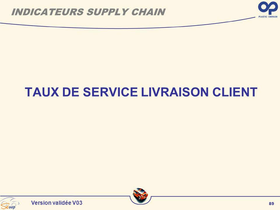 89 Version validée V03 TAUX DE SERVICE LIVRAISON CLIENT INDICATEURS SUPPLY CHAIN