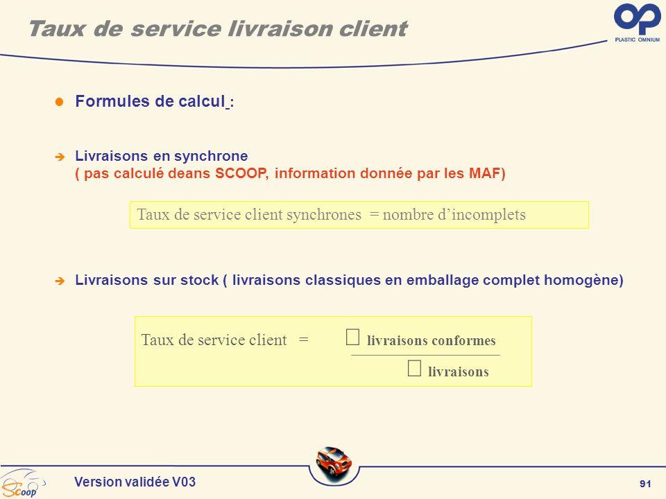 91 Version validée V03 Formules de calcul : Livraisons en synchrone ( pas calculé deans SCOOP, information donnée par les MAF) Livraisons sur stock (