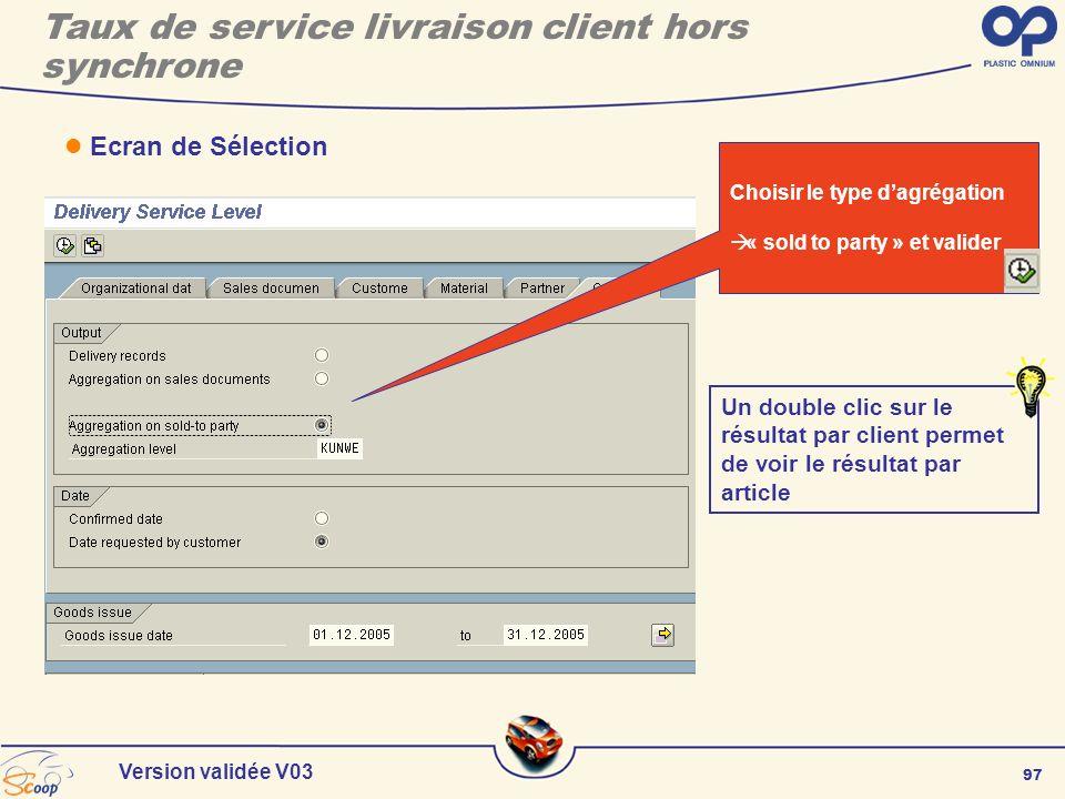 97 Version validée V03 Ecran de Sélection Choisir le type dagrégation « sold to party » et valider Un double clic sur le résultat par client permet de