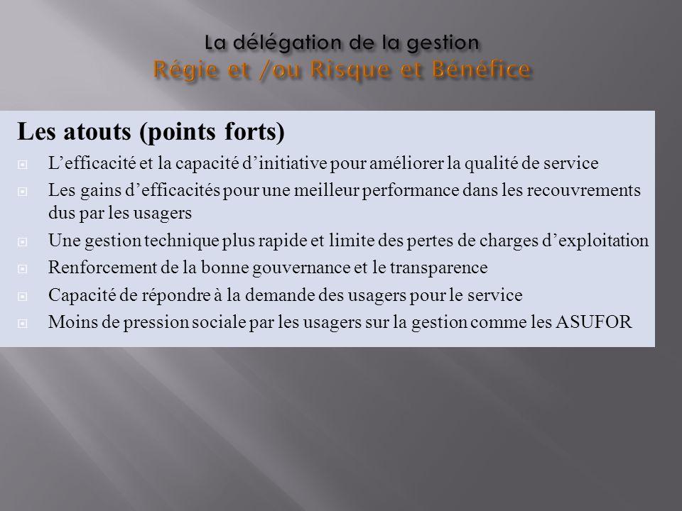 La délégation de la gestion Régie et /ou Risque et Bénéfice Les atouts (points forts) Lefficacité et la capacité dinitiative pour améliorer la qualité