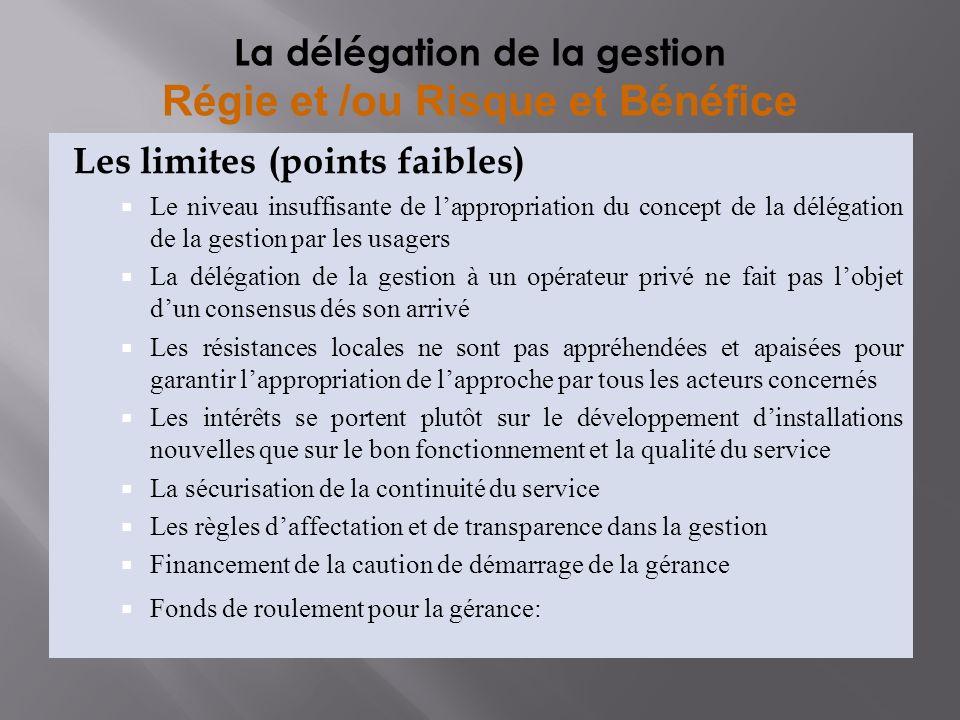 Les limites (points faibles) Le niveau insuffisante de lappropriation du concept de la délégation de la gestion par les usagers La délégation de la ge