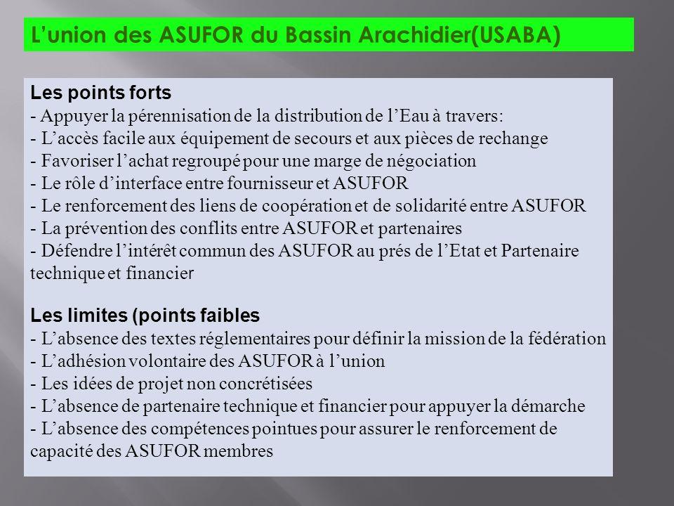 Lunion des ASUFOR du Bassin Arachidier(USABA) Les points forts - Appuyer la pérennisation de la distribution de lEau à travers: - Laccès facile aux éq