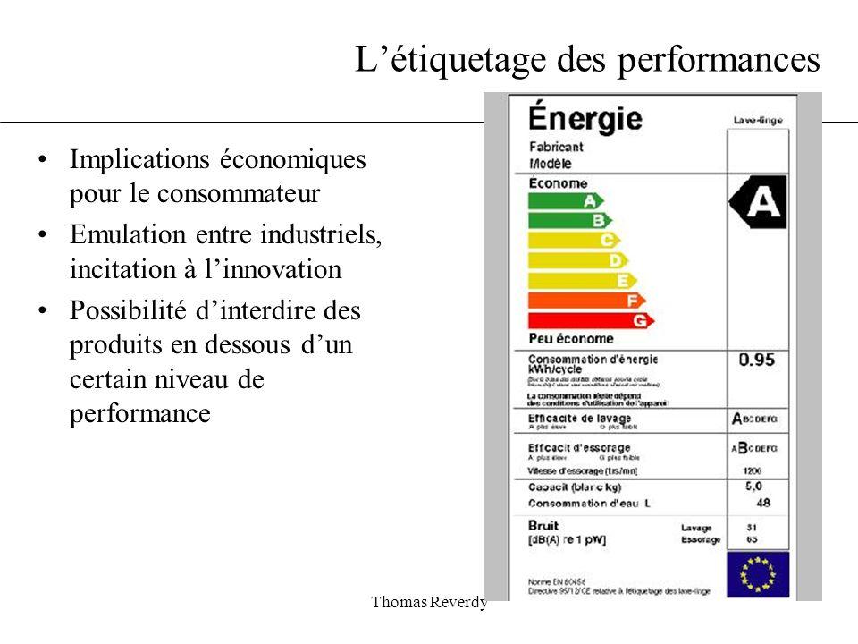 Thomas Reverdy Létiquetage des performances Implications économiques pour le consommateur Emulation entre industriels, incitation à linnovation Possibilité dinterdire des produits en dessous dun certain niveau de performance