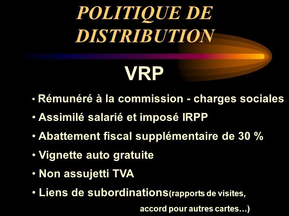 POLITIQUE DE DISTRIBUTION VRP Rémunéré à la commission - charges sociales Assimilé salarié et imposé IRPP Abattement fiscal supplémentaire de 30 % Vig