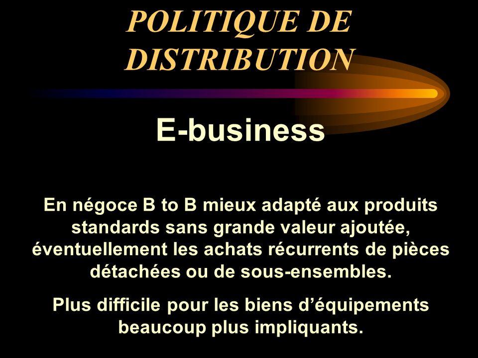 POLITIQUE DE DISTRIBUTION E-business En négoce B to B mieux adapté aux produits standards sans grande valeur ajoutée, éventuellement les achats récurr