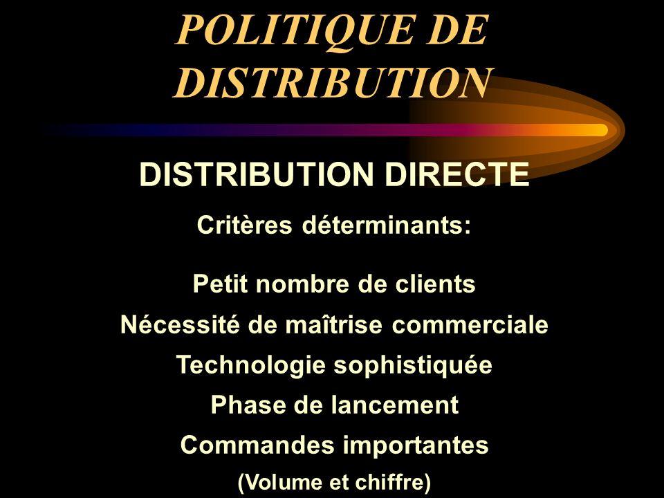POLITIQUE DE DISTRIBUTION DISTRIBUTION DIRECTE Critères déterminants: Petit nombre de clients Nécessité de maîtrise commerciale Technologie sophistiqu