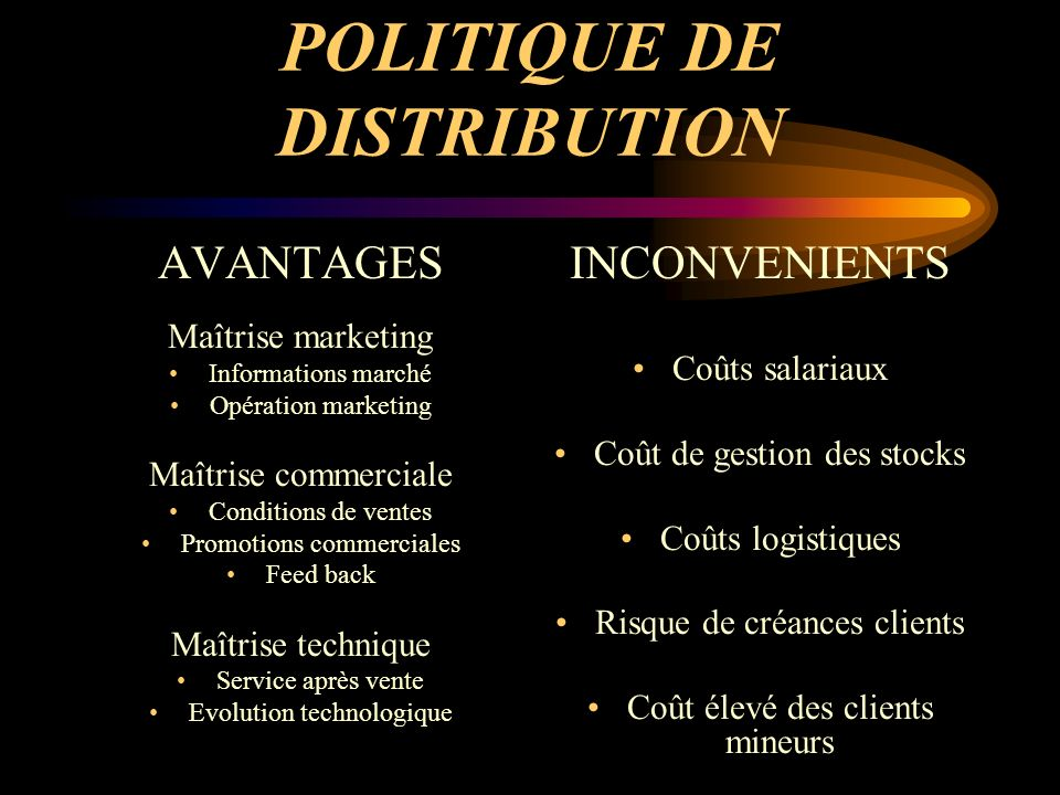 POLITIQUE DE DISTRIBUTION AVANTAGES Maîtrise marketing Informations marché Opération marketing Maîtrise commerciale Conditions de ventes Promotions co
