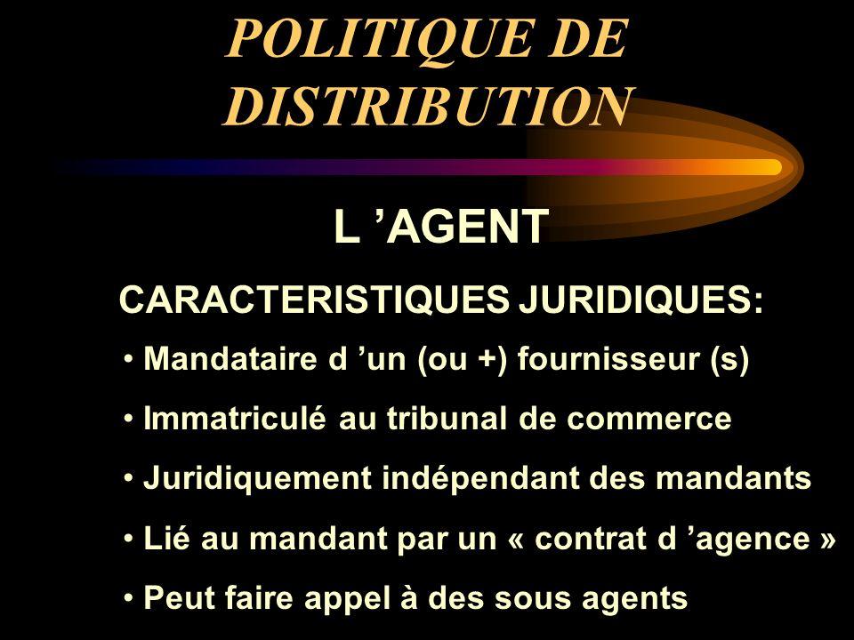 POLITIQUE DE DISTRIBUTION L AGENT CARACTERISTIQUES JURIDIQUES: Mandataire d un (ou +) fournisseur (s) Immatriculé au tribunal de commerce Juridiquemen