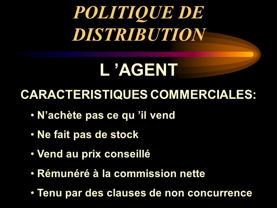 POLITIQUE DE DISTRIBUTION L AGENT CARACTERISTIQUES COMMERCIALES: Nachète pas ce qu il vend Ne fait pas de stock Vend au prix conseillé Rémunéré à la c