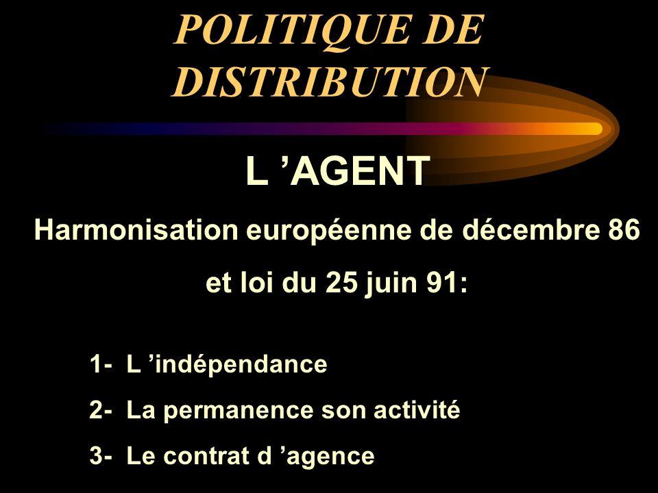 POLITIQUE DE DISTRIBUTION L AGENT Harmonisation européenne de décembre 86 et loi du 25 juin 91: 1- L indépendance 2- La permanence son activité 3- Le