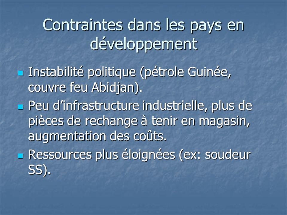 Contraintes dans les pays en développement Instabilité politique (pétrole Guinée, couvre feu Abidjan). Instabilité politique (pétrole Guinée, couvre f
