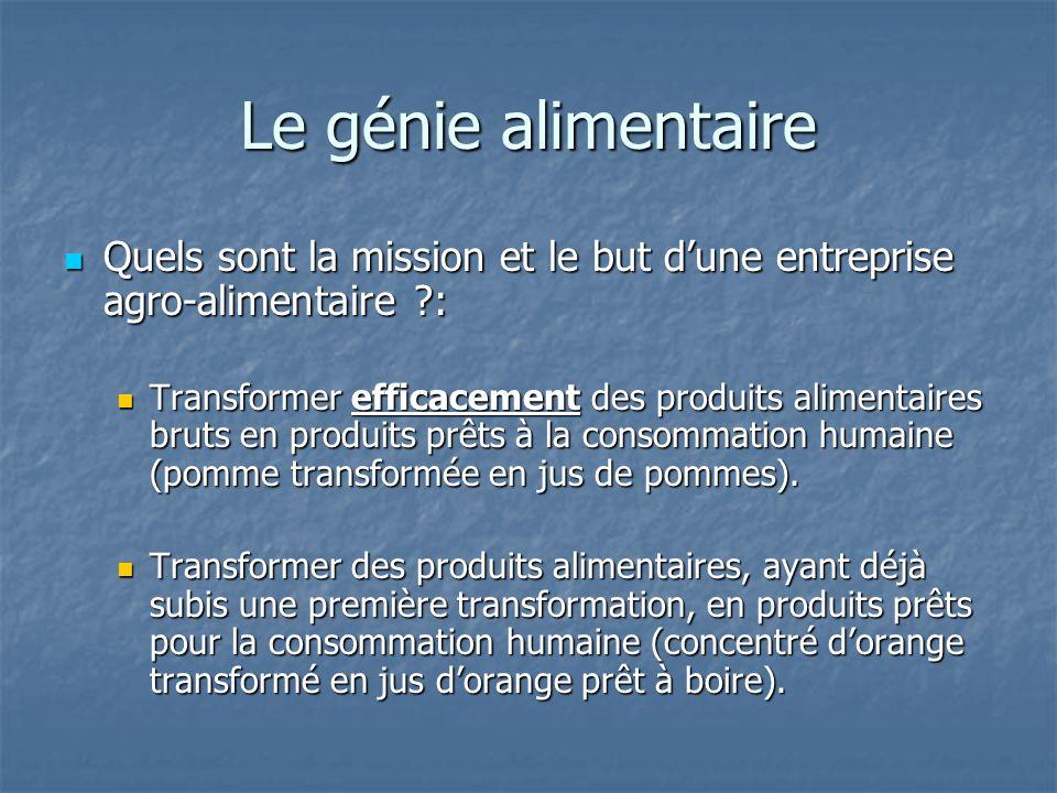 Le génie alimentaire Quels sont la mission et le but dune entreprise agro-alimentaire ?: Quels sont la mission et le but dune entreprise agro-alimenta