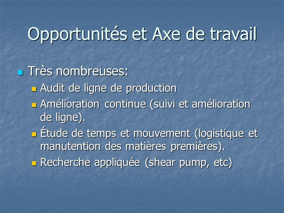 Opportunités et Axe de travail Très nombreuses: Très nombreuses: Audit de ligne de production Audit de ligne de production Amélioration continue (suivi et amélioration de ligne).