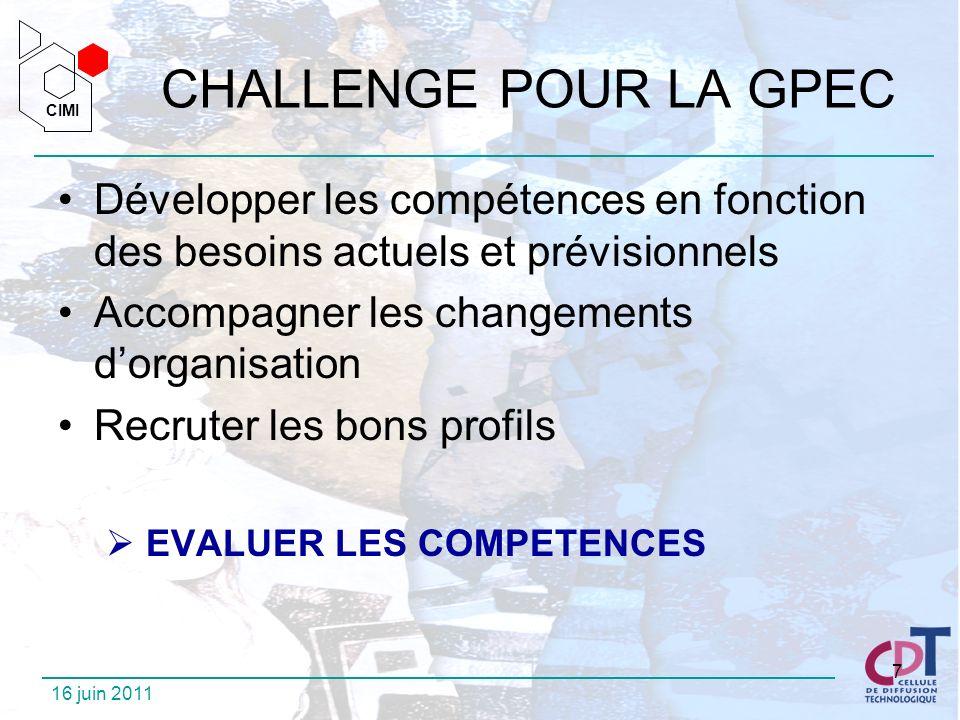 CIMI CIMI 16 juin 2011 7 CHALLENGE POUR LA GPEC Développer les compétences en fonction des besoins actuels et prévisionnels Accompagner les changement