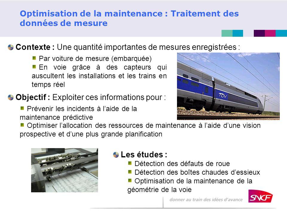 Optimisation de la maintenance : Traitement des données de mesure Contexte : Une quantité importantes de mesures enregistrées : Par voiture de mesure