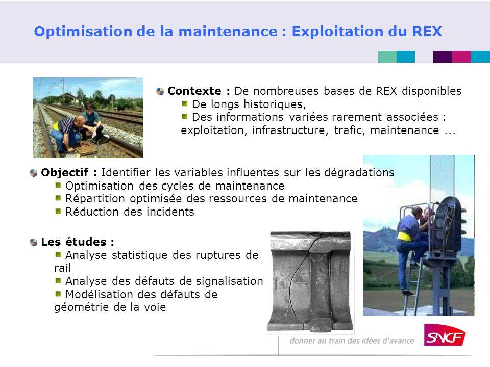 Optimisation de la maintenance : Exploitation du REX Contexte : De nombreuses bases de REX disponibles De longs historiques, Des informations variées