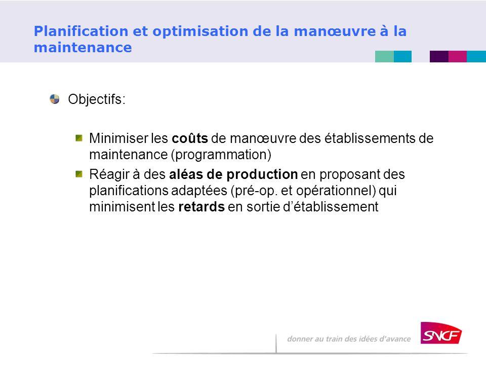 Objectifs: Minimiser les coûts de manœuvre des établissements de maintenance (programmation) Réagir à des aléas de production en proposant des planifi