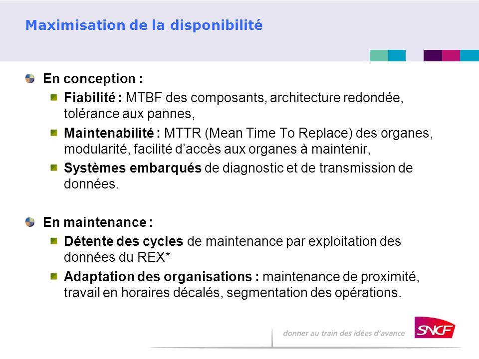 Maximisation de la disponibilité En conception : Fiabilité : MTBF des composants, architecture redondée, tolérance aux pannes, Maintenabilité : MTTR (