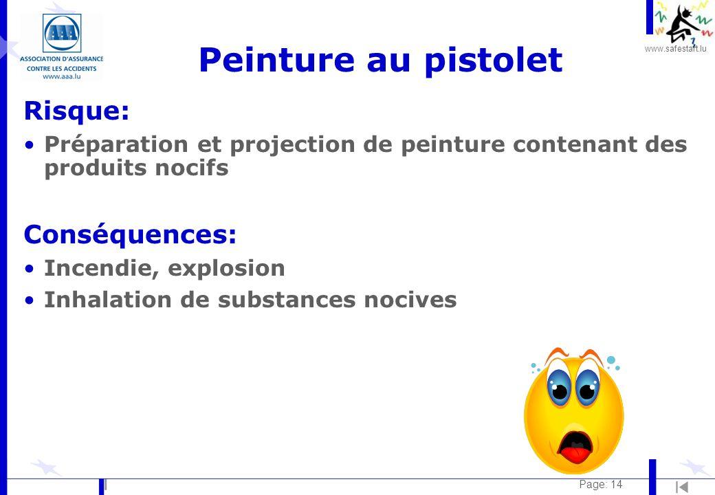 www.safestart.lu Page: 14 Peinture au pistolet Risque: Préparation et projection de peinture contenant des produits nocifs Conséquences: Incendie, exp