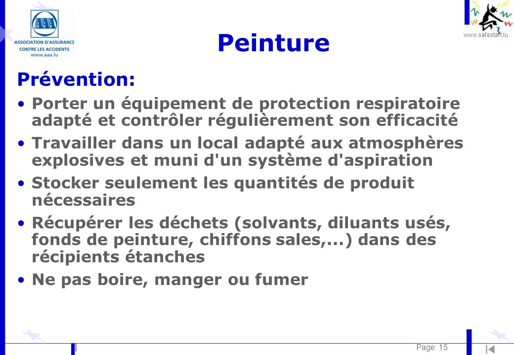 www.safestart.lu Page: 15 Peinture Prévention: Porter un équipement de protection respiratoire adapté et contrôler régulièrement son efficacité Travai