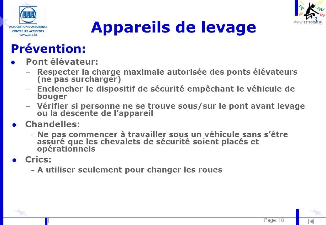 www.safestart.lu Page: 18 Appareils de levage Prévention: l Pont élévateur: –Respecter la charge maximale autorisée des ponts élévateurs (ne pas surch