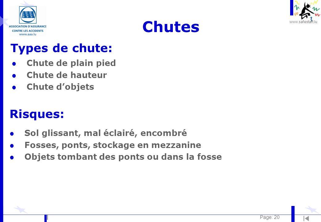 www.safestart.lu Page: 20 Chutes Types de chute: Risques: l Chute de plain pied l Chute de hauteur l Chute dobjets l Sol glissant, mal éclairé, encomb
